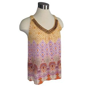 Apt. 9 Medium Yellow & Purple Beaded Top